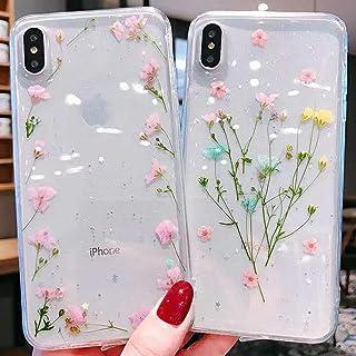 Emlivi iPhone XS Max skal mobiltelefonskal iPhone XS Max äkta blomma skyddsskal torkade blommor skal kristall silikon baks...