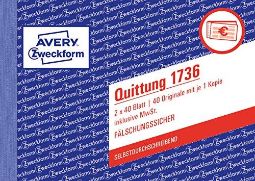 AVERY Zweckform 1736 Quittungsblock (A6 quer, 2x40 Blatt, mit Durchschlag, fälschungssicher, inkl. MwSt., für Deutschland und Österreich) weiß/gelb