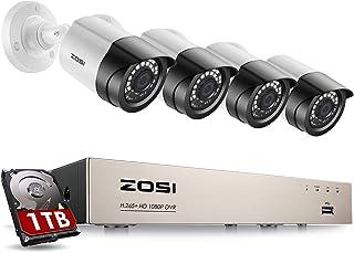 ZOSI 1080P Sistema de Cámaras de Vigilancia Interior 8CH 2MP Grabadora DVR + 1TB Disco Duro + (4) Cámara de Seguridad Exterior Acceso Remoto Gratis