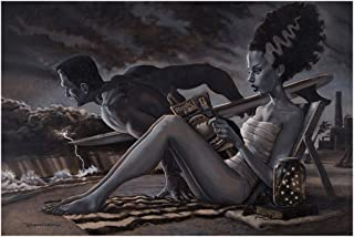The Bathers by Damian Fulton Bride of Frankenstein Monster Surf Tattoo Art Print