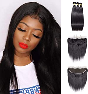 V SHOW Hair 8A Malaysian Straight Remy Hair Bundles with Frontal 14 16 18 with 12