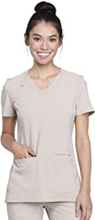 Cherokee Womens CK605 Iflex V-Neck Knit Panel Top Medical Scrubs Shirt