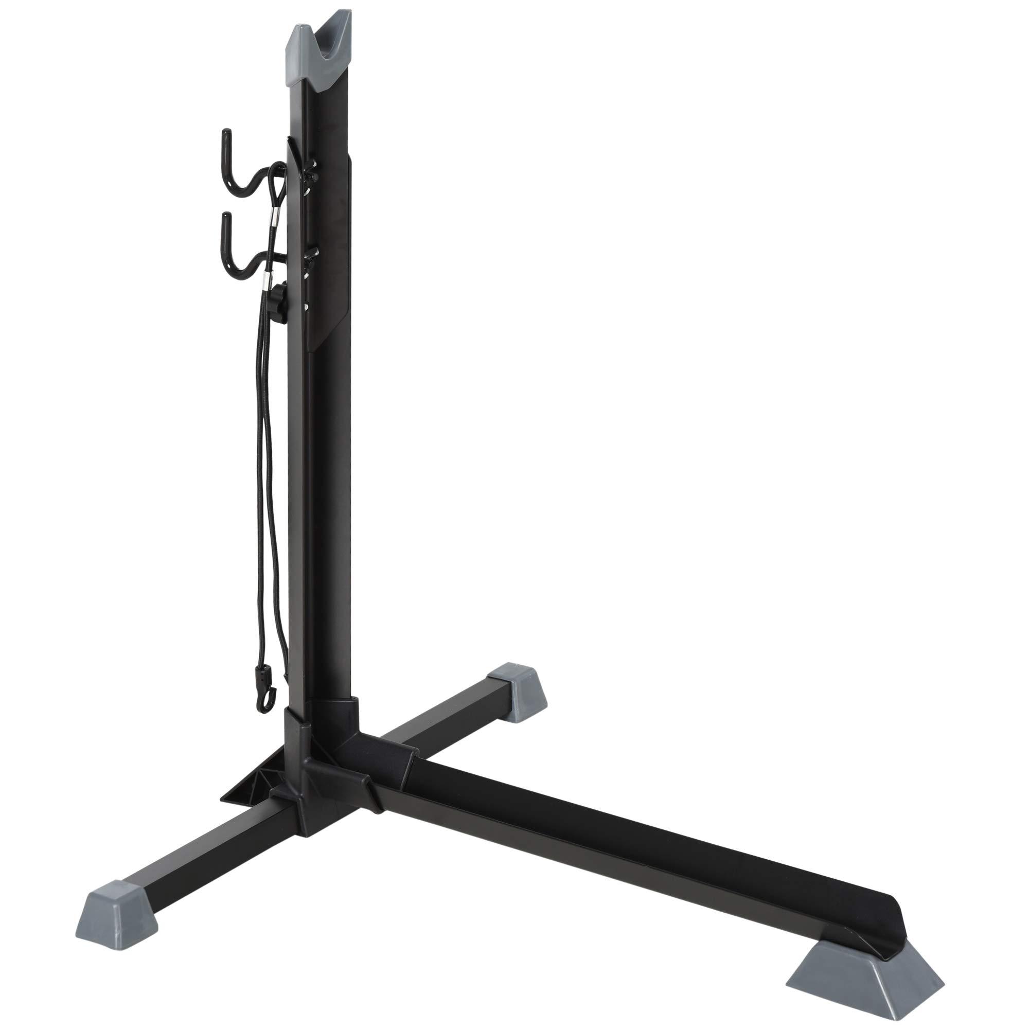 HOMCOM Soporte para Colocar Bicicleta en Vertical Caballete de Bicicleta Ajustable en Altura con Correa de Fijación Fácil de Transportar Soporta 30 kg 66x56x63-73,5 cm Negro: Amazon.es: Deportes y aire libre