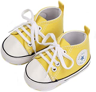Captain Meow Unisex Baby Boys Girls Star High Top Sneaker Soft Anti-Slip Sole Newborn Infant First Walkers Canvas Denim Shoes