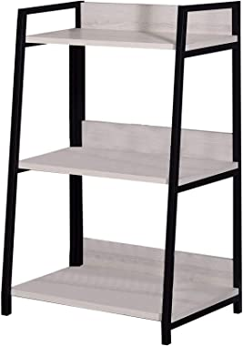 Benjara Wooden Bookshelf with 3 Open Compartments, White and Black