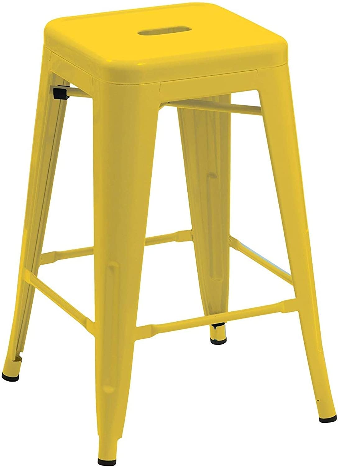 QIDI Metal Iron Bar Stool Grey Chair Stackable Industry Design Colour Selection 665B (color   Yellow)