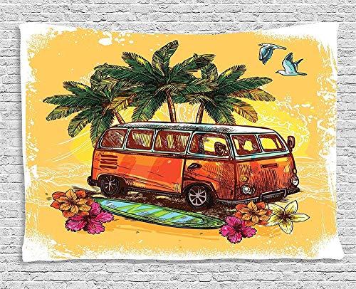 AdoDecor Tapiz clásico autobús Antiguo con Tabla de Surf Freedom Holiday Vida exótica Sketchy Art Colgante de Pared Decoración del hogar 150x200cm/59 * 79 Inches