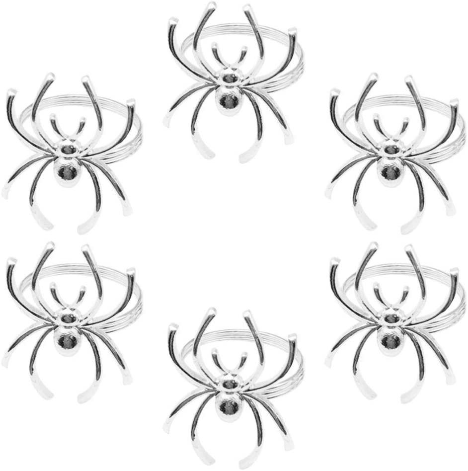 NUOBESTY Napkin Rings Set of 6 Halloween Decorative Alloy Spider Napkin Holders for Halloween Party Banquet