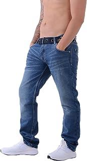 Crosshatch Mens Techno Embossed Stone Wash Denim Jeans with Free Belt