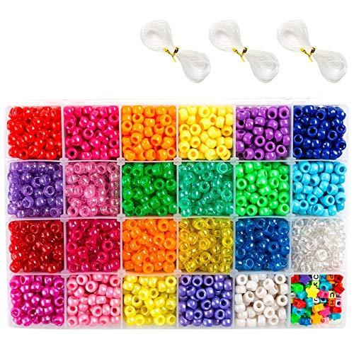 ACAMPTAR Beads, 33,00 Pcs 9Mm Beads en 23 Colores con Cuentas de Letras, Cuentas de Estrellas y Cuerdas EláSticas para la FabricacióN de Joyas con Brazaletes