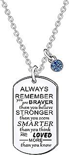 قلادة هدية ملهمة لا تتذكر دائمًا أنت الشجاع للنساء والرجال هدايا التخرج وأعياد الميلاد