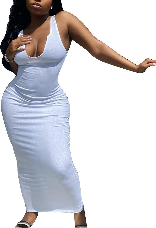 Women's Sexy Bodycon Long Dress Deep V Neck Ribbed Tank Maxi Dress Basic Summer Dresses Clubwear