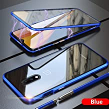 ERIT case 360 Degree Magnetic Adsorption Metal Bumper Tempered Glass Clear Shockproof Full Cover Case for Oneplus 7 - Blue