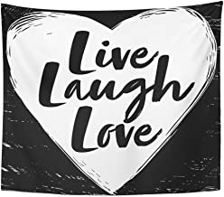 Emvency Tapestry Wall Hanging Art Nature Home Quote Live Laugh Love on Black and White Heart Motivation Inspiration Youth for Living Room Bedroom Dorm Decor in 50 x 60 Inches