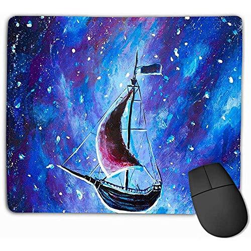 muismat originele olieverfschilderij vliegen oude piraat schip mooie zee schip vliegen boven sterrenhemel abstract sprookje droom Peter pan rechthoek rubber muismat 30X25CM