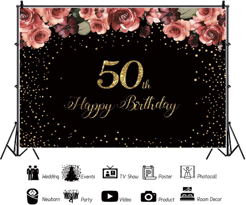 YongFoto 12x10ft Birthday Backdrop Sweet Rose Flower Stars Glitter Happy 50th Birthday Photography Background Party Theme Cake Table Banner Adults Portrait Photo Studio Wall Vinyl Poster