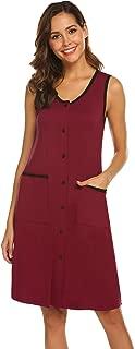 Women's Sleepwear Scoop Neck Nightshirt Cotton Nightgown Button Down Loungewear S-XXL