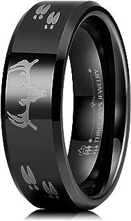 Three Keys 6mm 8mm Steampunk Gear Wheel Blue Carbon Fiber Red Opal Deer Head Black Tungsten Wedding Ring