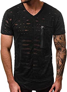 Men's T-Shirt Summer Personality Pure Hole Short Sleeves Fashion Blouse Top Casual Tee
