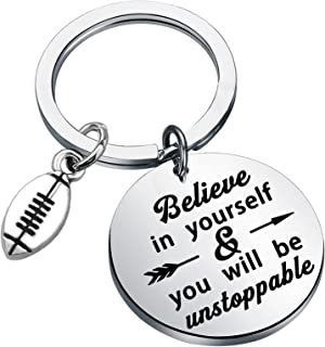 BEKECH Football Sports Gift Football Player Keychain Believe in Yourself You Will Be Unstoppable Jewelry for Football Team