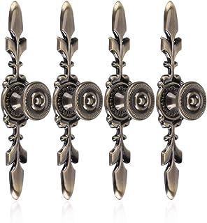 Fdit dörrknopp bakpanel i vintage stil, för möbler, lådor, skåp, byråer, garderob, skåp med skruv (grön brons), 4 stycken