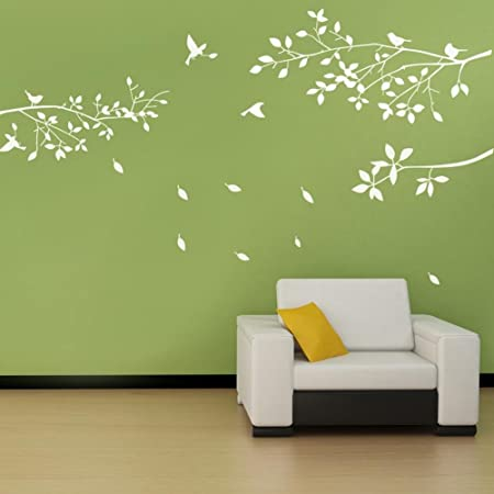 AIYANG caf/é brown arbre mur de lart la fresque de vinyle pour les enfants les enfants chambre la d/écoration murale mur autocollant orange et vert les feuilles dans le vent arbre