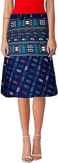 Animal Print A-line Design Cotton Wrap Around Knee Length Skirt Sarong Blue