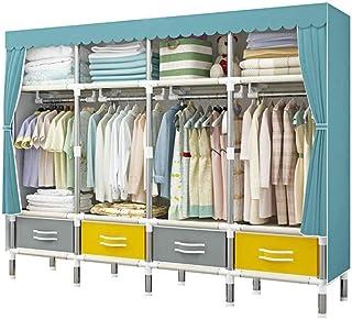 HWG Penderie Tissu Garde Robe Tuyau en Acier épaissi avec étagère en Métal Et Cache Anti-poussière Utilisé pour Stocker de...