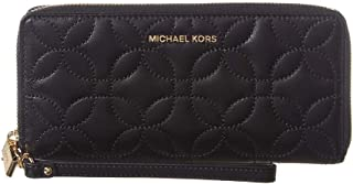 Michael Kors Quilted Floral Travel Continental Wallet BLACK