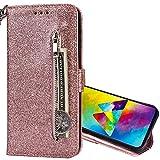 Nadoli Wallet Custodia per Huawei P20 Lite,Cerniera Tasche per Carte Disegno Luminoso Glitter Cinturino da Polso a Libro Chiusura Magnetica Bling Flip Cover per Huawei P20 Lite