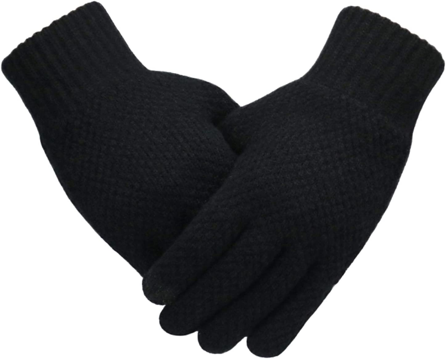 Lace Gloves Men's Knitted Gloves Winter Touch Screen Male Thicken Warm Wool Cashmere Solid Gloves Men Glove Business Autumn (Farbe : BlackNoLogo, Handschuhgröße : One Size)