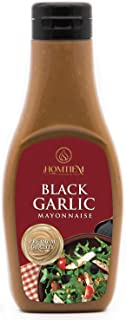 Homtiem Black Garlic Mayonnaise 7.04 Oz (200g), Squeeze Bottle, Gluten Free, Egg Free, Dairy Free, Vegan, Non-GMOs, for Sa...