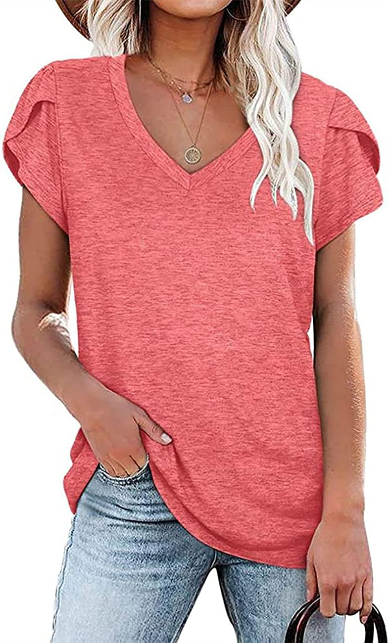 LERUCCI Women's Tops Casual V Neck Loose Tunic Petal Sleeve Summer Shirt