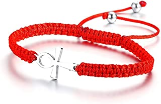 Ankh Cross Braided Bracelet Lucky Red Adjustable Wristband Egyptian Jewelry Men Women