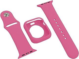 ファッションスポーツバンドアップルウォッチ44/42/40 / 38mmプロテクターケースカバーストラップスーツブレスレットFor iWatchシリーズ5/4/3/2/1メンズレディース-Barbie powder-42mm For Apple...