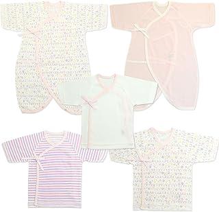 新生児肌着 5点セット クレヨン柄(短肌着3着,コンビ肌着2着)・日本製 ピンク