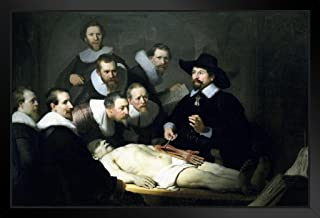 Rembrandt The Anatomy Lesson of Dr Nicolaes Tulp 1632 Oil On Canvas Painting Black Wood Framed Art Poster 20x14