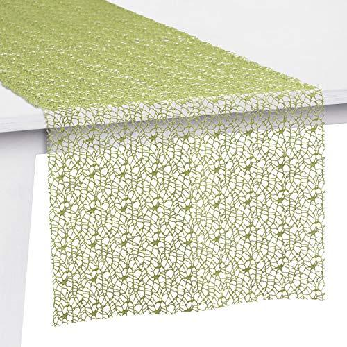 Pichler Tischset Tischband Tischläufer Mitteldecke Network, Limette, Größe Tischwäsche:Tischband 30 x 260 cm