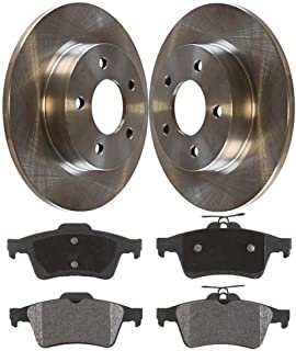 Prime Choice Auto Parts CBO415111114CFO Pair of Rear Premium Rotors and Ceramic Pads