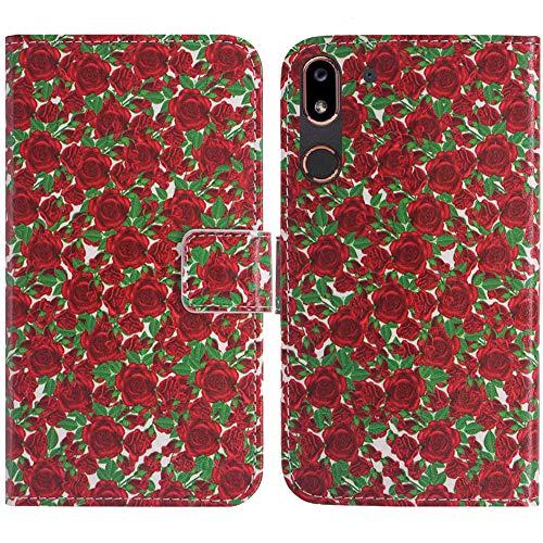 TienJueShi Rose Blume Flip Book Stand Brieftasche Leder Tasche Schütz Hülle PC Hard Hülle Für Doro 8080 5.7 inch Abdeckung Wallet Cover Etüi