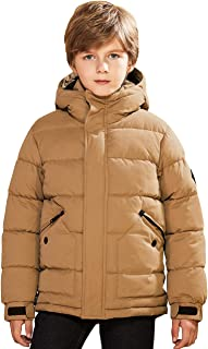 SOLOCOTE Lightweight Winter Coat for Boys Thick Warm Soft Puffy Cotton Hooded Jackets Water Resistant Windbreaker