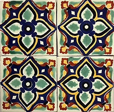 6x6 Talavera Tile Home Decor Back Splash Renovation Beautiful Hand Painted Mexican Colorful (25 Piece