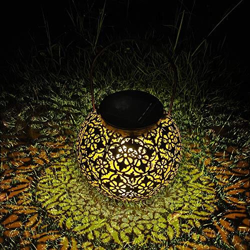 MMTX Solarlaterne für außen, Wasserdicht Hängende Gartenlaterne Garten LED Solarleuchten Metall Solarlampe Dekorative für Aussen Patio Balkon IP44