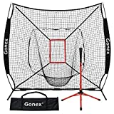 Gonex 7' x 7' Baseball Softball Practice Net Set with Batting Tee for Hitting and Pitching Batting, Practice Training Aid, with Strike Zone, Large Mouth, Bow Frame, Carrying Bag