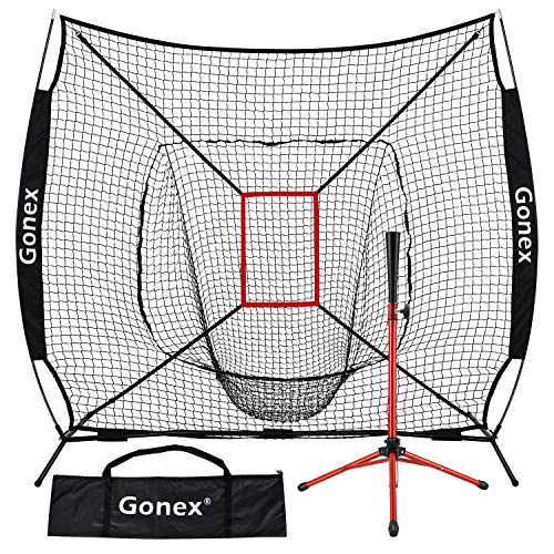 Gonex 7' x 7' Baseball Softball Practice Net Set with Batting Tee for Hitting and Pitching Batting, Practice Training Aid, with Strike Zone, Large Mouth, Bow Frame, Carrying Bag, Black