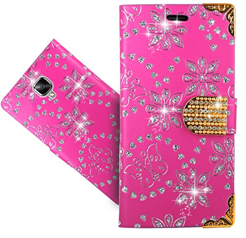 FoneExpert® OnePlus 3 / OnePlus 3T Handy Tasche, Bling Luxus Diamant Wallet Hülle Flip Cover Hüllen Etui Hülle Ledertasche Lederhülle Schutzhülle Für OnePlus 3 / OnePlus 3T