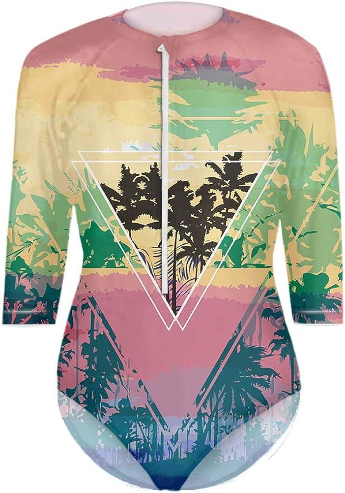 ArtistMixWay Women's One Piece Swimsuits Rash Guards Hawaiian Printe Beach Swimwear