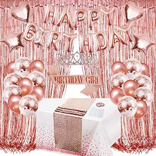 ZERODECO Decorazione di compleanno, oro rosa, ghirlanda con brillantini, tovaglia bianca con nastrino, Tiara glitterata, tenda a forma di cuore, stella, palloncini, decorazioni per bambine