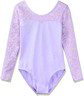 BAOHULU Girl's Classic Floral Lace Long Sleeve Dance Leotards