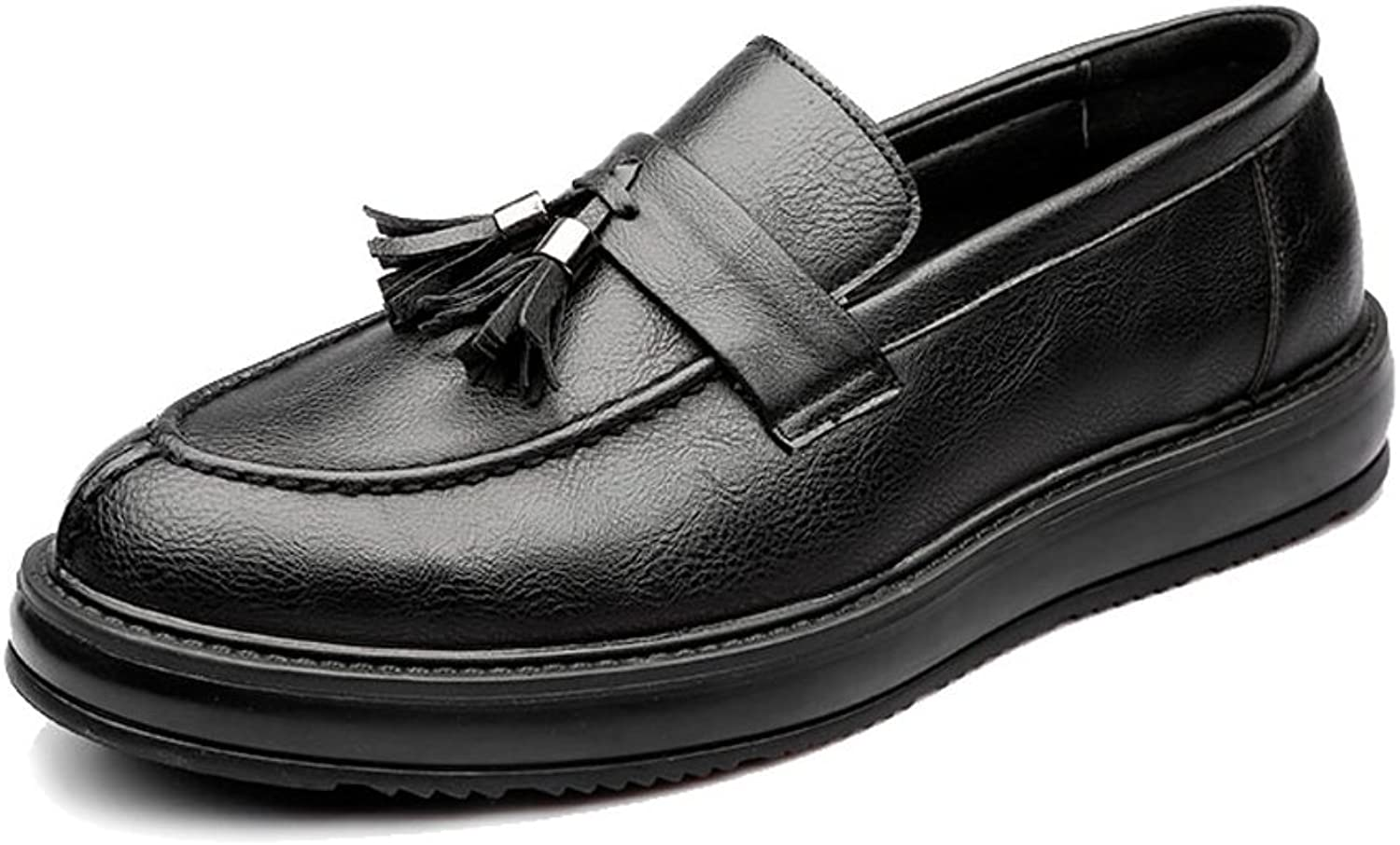 JIALUN-shoes Simple Men's Business PU Leather shoes Classic Slip-on Loafers Tassel Pendant Decoration Outsole Oxfords